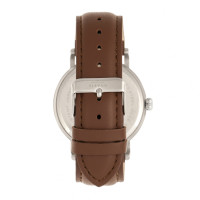Elevon Von Braun Leather-Band Watch w/Date - Silver/Brown ELE112-1