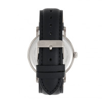 Elevon Von Braun Leather-Band Watch w/Date - Silver/Black ELE112-2