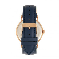 Elevon Von Braun Leather-Band Watch w/Date - Rose Gold/Blue ELE112-3