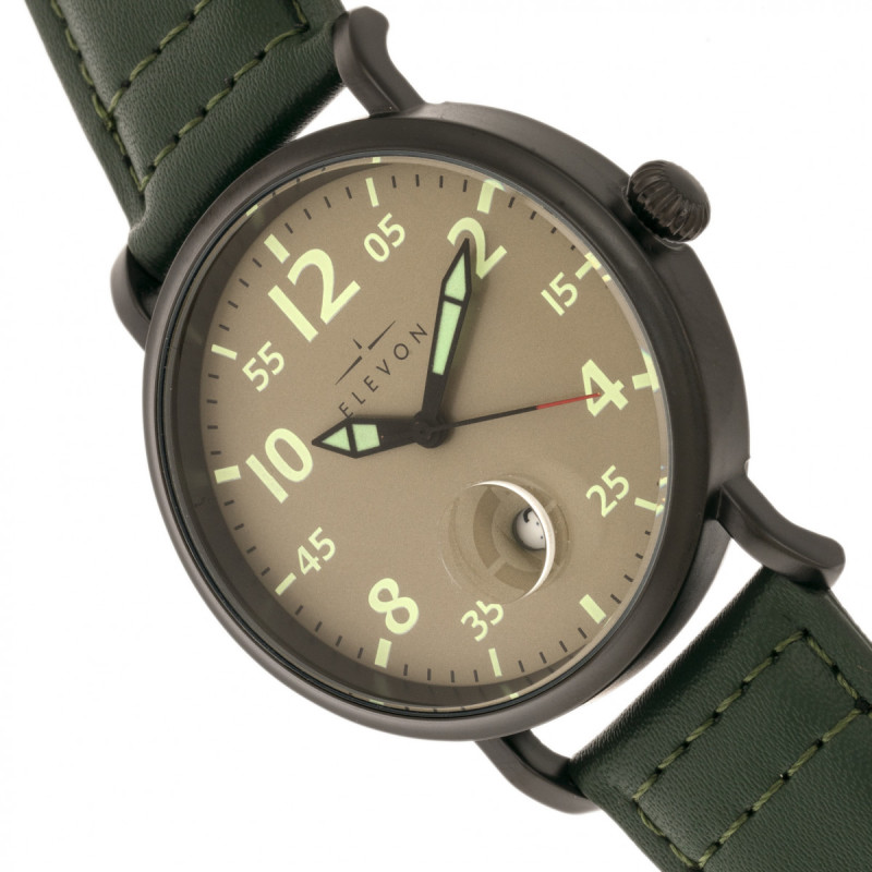 Elevon Von Braun Leather-Band Watch w/Date - Gunmetal/Green ELE112-4
