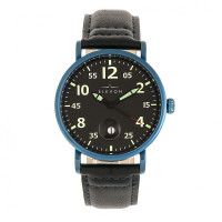 Elevon Von Braun Leather-Band Watch w/Date - Blue/Black  ELE112-5
