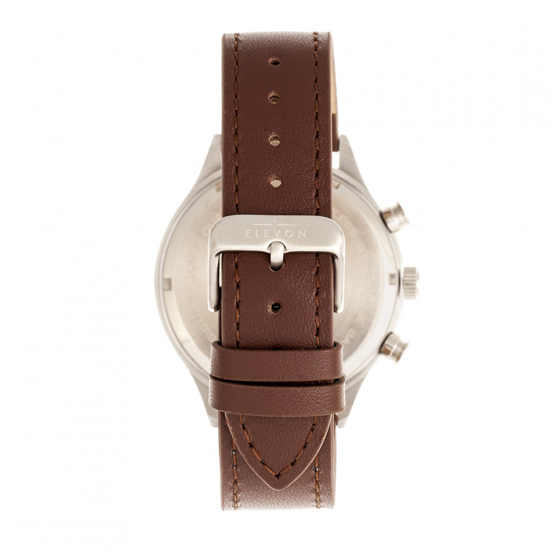 Elevon Antoine Chronograph Leather-Band Watch w/Date - Brown/Silver ELE113-2