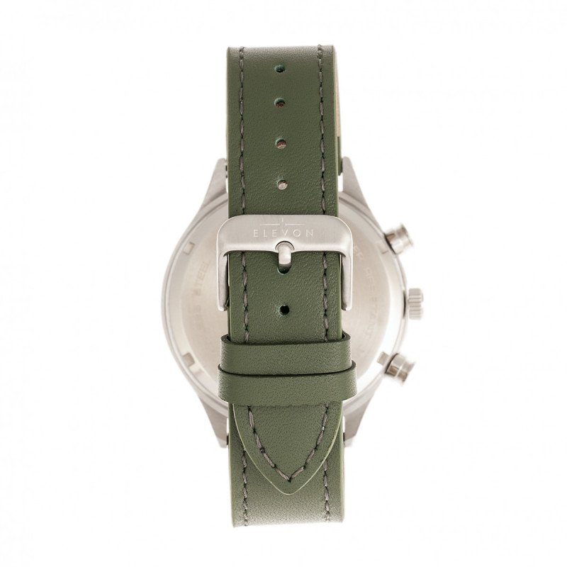 Elevon Antoine Chronograph Leather-Band Watch w/Date - Olive/Pewter ELE113-3
