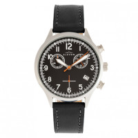 Elevon Antoine Chronograph Leather-Band Watch w/Date - Black/Silver ELE113-1
