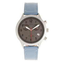 Elevon Antoine Chronograph Leather-Band Watch w/Date - Light Blue/Charcoal ELE113-5