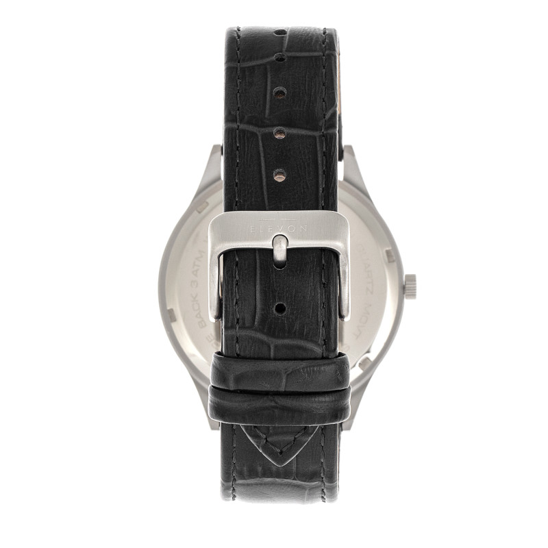 Elevon Concorde Leather-Band Watch w/Date - Silver/Black ELE115-2