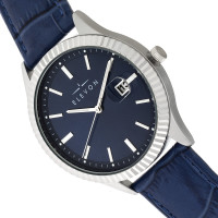 Elevon Concorde Leather-Band Watch w/Date - Silver/Blue  ELE115-3