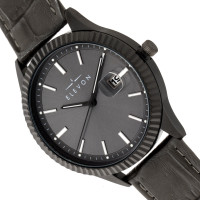 Elevon Concorde Leather-Band Watch w/Date - Black/Gunmetal  ELE115-5