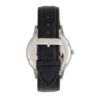 Elevon Turbine Leather-Band Watch - Silver/Black ELE116-2