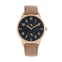 Elevon Turbine Leather-Band Watch - Rose Gold/Camel ELE116-4