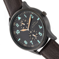 Elevon Turbine Leather-Band Watch - Black/Dark Brown ELE116-5