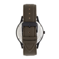 Elevon Turbine Leather-Band Watch - Black/Olive ELE116-6