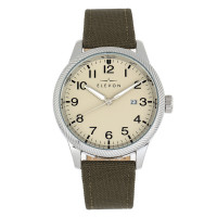 Elevon Bandit Leather-Band Watch w/Date - Brown/White ELE118-1