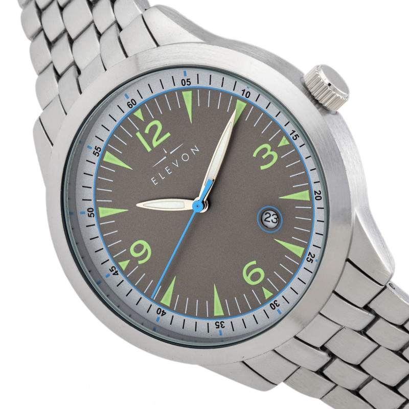 Elevon Atlantic Bracelet Watch w/Date - Silver/Grey ELE119-3