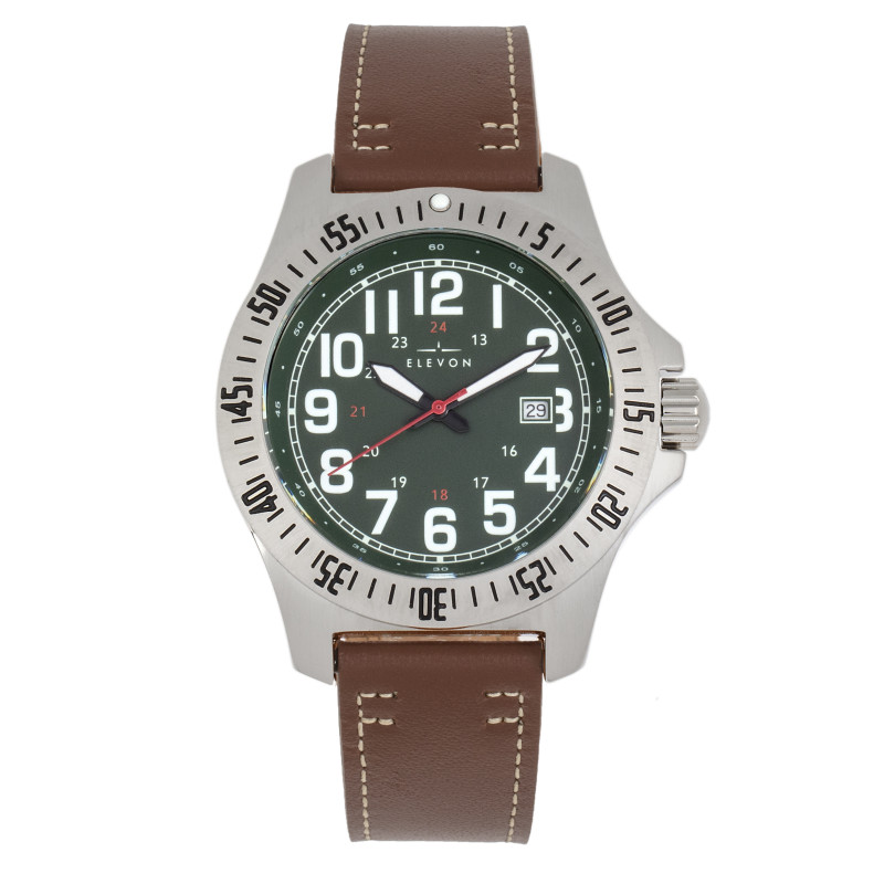Elevon Aviator Leather-Band Watch w/Date - Brown/Green ELE120-12