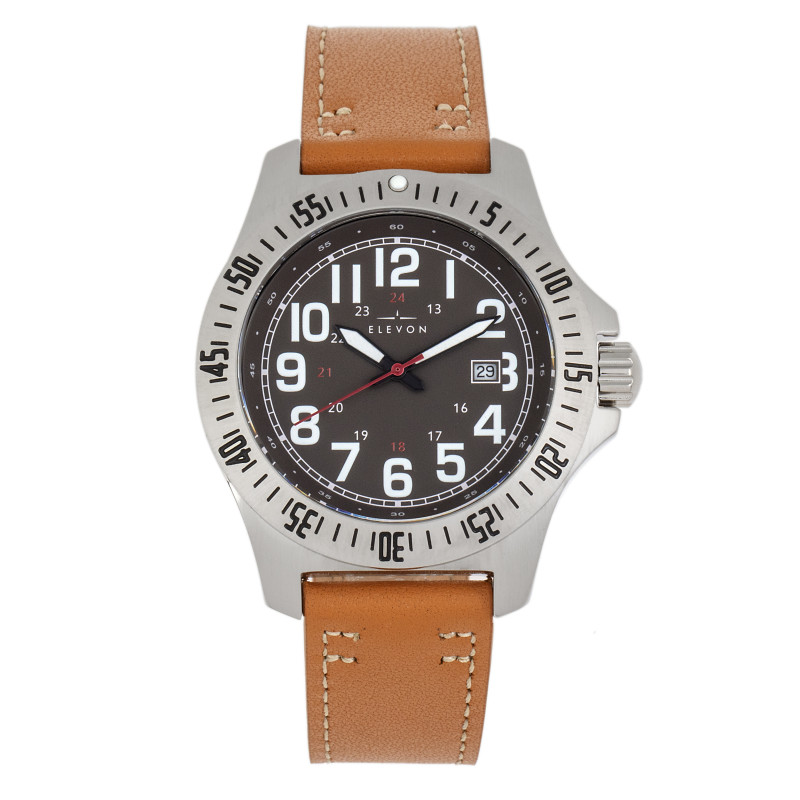 Elevon Aviator Leather-Band Watch w/Date - Camel/Brown ELE120-14