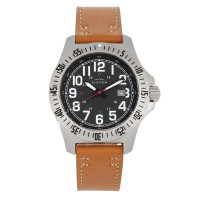 Elevon Aviator Leather-Band Watch w/Date - Black ELE120-9