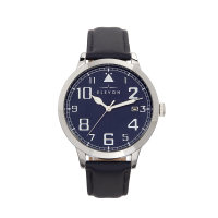 Elevon Sabre Leather-Band Watch w/Date - Silver/Navy/Navy ELE121-3