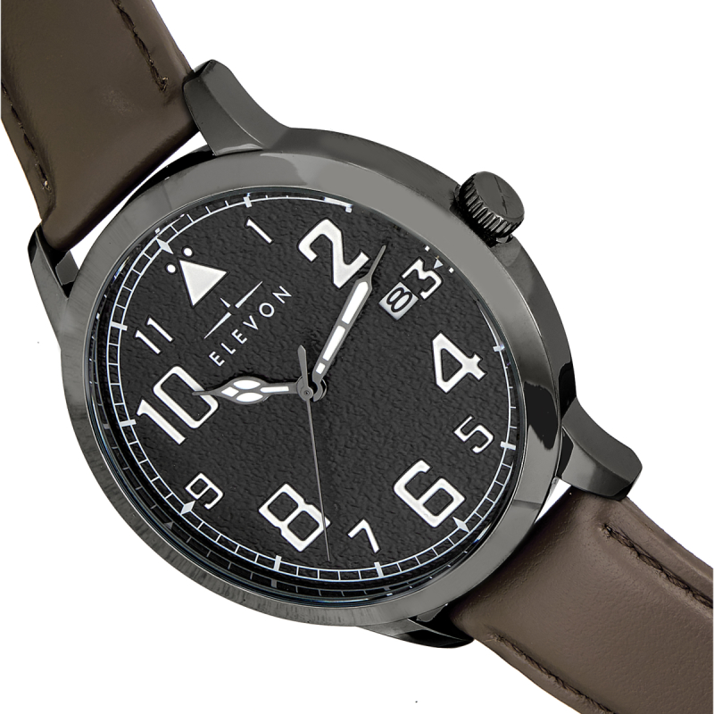 Elevon Sabre Leather-Band Watch w/Date - Gunmetal/Black/Brown ELE121-5