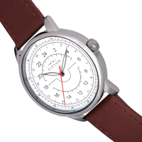 Elevon Gauge Leather-Band Watch - Silver/Dark Brown ELE122-1