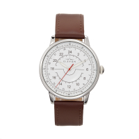 Elevon Gauge Leather-Band Watch - Gunmetal/Light Brown ELE122-6