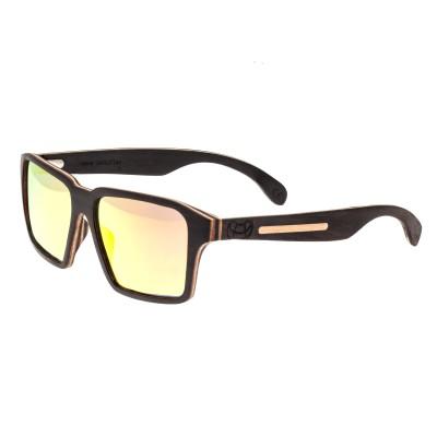 Earth Wood Piha Polarized Sunglasses - Ebony/Red-Yellow