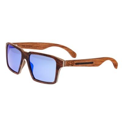 Earth Wood Piha Polarized Sunglasses - Red Rosewood/Blue