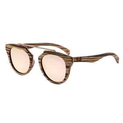 Earth Wood Ceira Polarized Sunglasses - Zebrawood/Rose Gold
