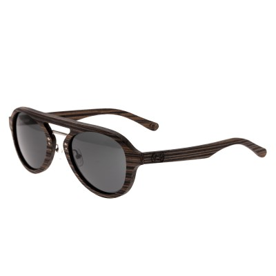 Earth Wood Cruz Polarized Sunglasses - Brown Stripe/Black