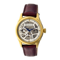 Heritor Automatic Nicollier Skeleton Leather-Band Watch - Gold/Black