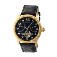 Heritor Automatic Piccard Semi-Skeleton Leather-Band Watch - Gold/Silver