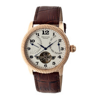 Heritor Automatic Piccard Semi-Skeleton Leather-Band Watch - Rose Gold/Black