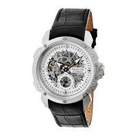 Heritor Automatic Conrad Skeleton Leather-Band Watch - Silver/Black