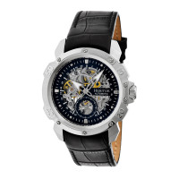 Heritor Automatic Conrad Skeleton Leather-Band Watch - Rose Gold/Black