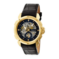 Heritor Automatic Conrad Skeleton Leather-Band Watch - Silver