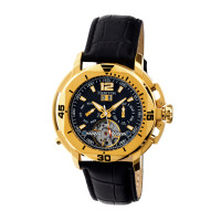 Heritor Automatic Lennon Semi-Skeleton Leather-Band Watch - Rose Gold/Black
