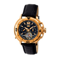 Heritor Automatic Lennon Semi-Skeleton Leather-Band Watch - Gold/Silver