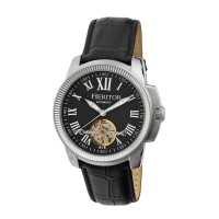 Heritor Automatic Franklin Semi-Skeleton Leather-Band Watch - Gold/Silver