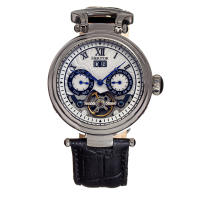Heritor Automatic Ganzi Semi-Skeleton Leather-Band Watch - Silver/Black
