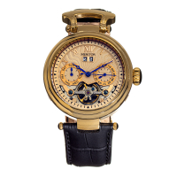 Heritor Automatic Ganzi Semi-Skeleton Leather-Band Watch - Rose Gold/Black