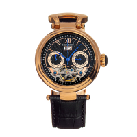 Heritor Automatic Ganzi Semi-Skeleton Leather-Band Watch - Gold/Silver