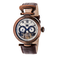 Heritor Automatic Ganzi Semi-Skeleton Leather-Band Watch - Silver