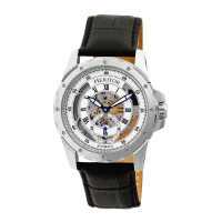 Heritor Automatic Armstrong Skeleton Leather-Band Watch - Gold/Silver
