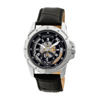 Heritor Automatic Armstrong Skeleton Leather-Band Watch - Rose Gold/Black