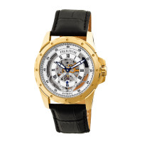 Heritor Automatic Armstrong Skeleton Leather-Band Watch - Gold/Black