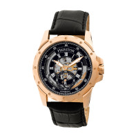 Heritor Automatic Armstrong Skeleton Leather-Band Watch - Silver/Black