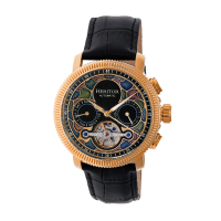 Heritor Automatic Aura Men's Semi-Skeleton Leather-Band Watch - Gold/White
