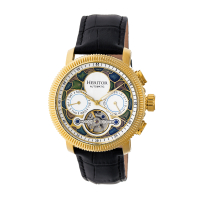 Heritor Automatic Aura Men's Semi-Skeleton Leather-Band Watch - Rose Gold/Black