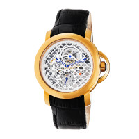 Heritor Automatic McKinley Leather-Band Skeleton Watch - Rose Gold/Black
