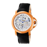 Heritor Automatic McKinley Leather-Band Skeleton Watch - Gold/Silver
